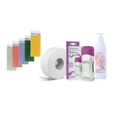Пълен комплект за епилация Хавай, Depilia Italy, нагревател, кола маска, лента и олио за след епилация